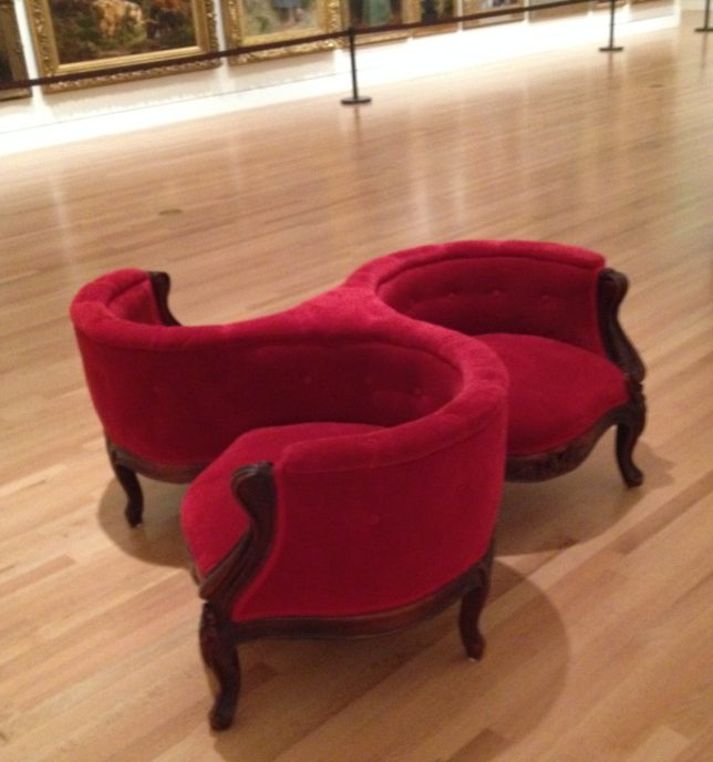 A gossip chair at the Frye