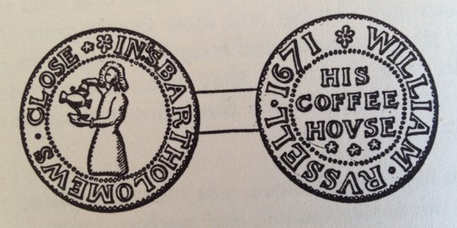Coffeehouse token from the Beaufoy Collection at the Guildhall Museum, drawing by Gordon Ellis